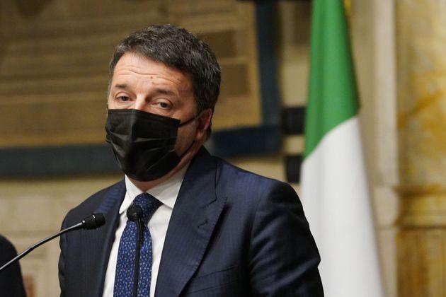 ROME, ITALY - JANUARY 30: Italia Viva Party President Matteo Renzi talks to media following a meeting...