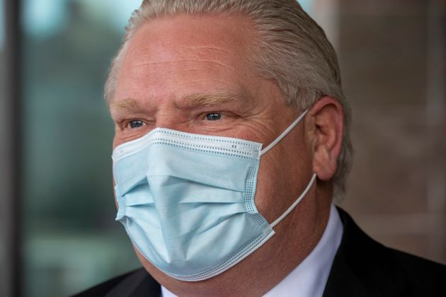 Ontario Premier Doug Ford holds a photo opportunity in Toronto on Feb. 1,