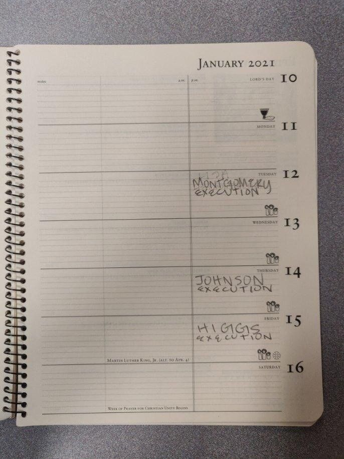 George Hale's calendar for the final days of the Trump administration. (Note that Lisa Montgomery and Dustin Higgs were both
