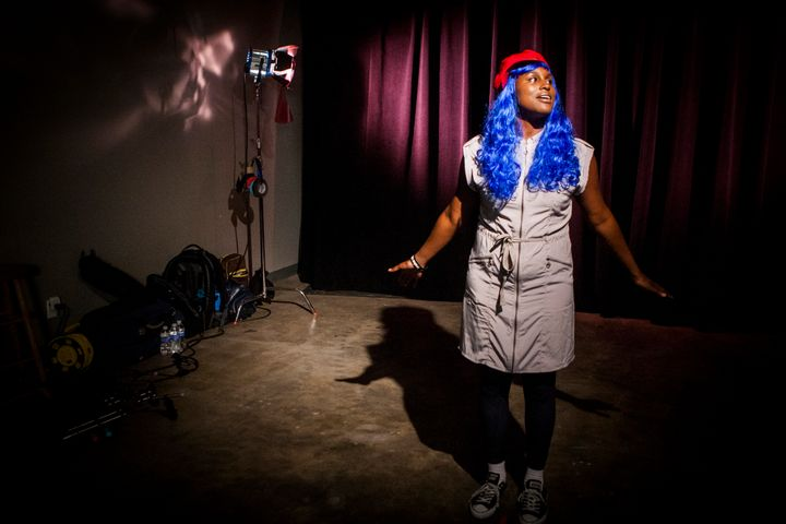 """Issa Rae acts out a scene for """"The Misadventures of Awkward Black Girl"""" in August 2012 at J.E.T Studios in North Hollywood."""