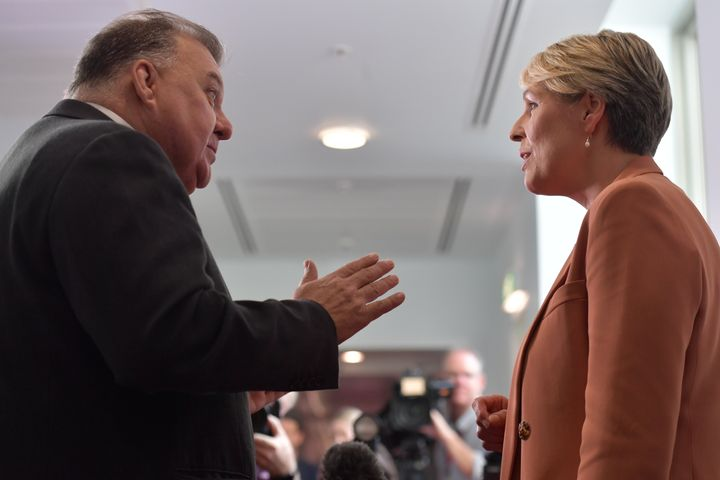 Member for Hughes Craig Kelly and Member for Sydney Tanya Plibersek argue in the Media Gallery at Parliament House on February 3 in Canberra.