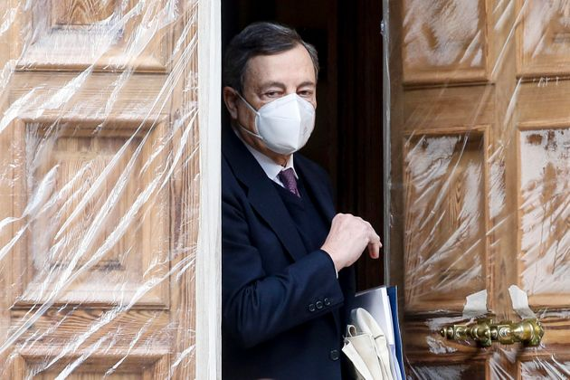 Former President of the European Central Bank (ECB) Mario Draghi leaves his home in Rome, Italy, 2 February...