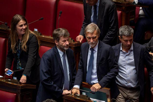 ROME, ITALY - OCTOBER 8: Italian Minister of Culture Dario Franceschini, Graziano Delrio and Andrea Orlando...