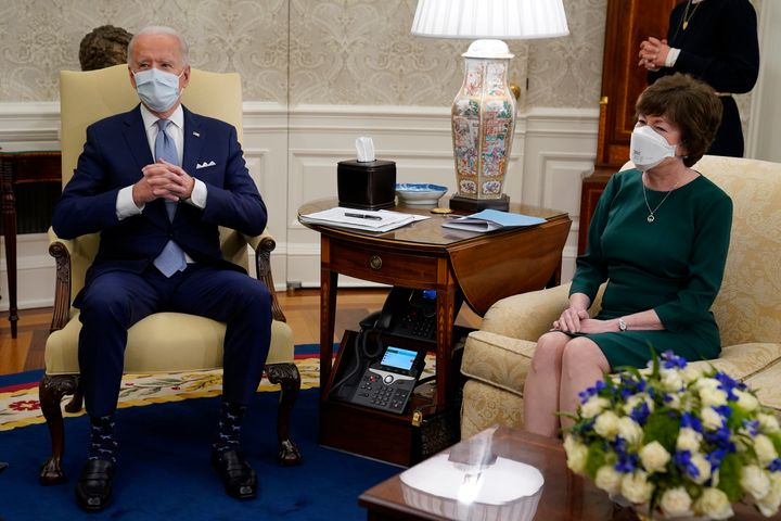 President Joe Biden meets with Sen. Susan Collins, R-Maine, and others to discuss a coronavirus relief package, in the Oval O