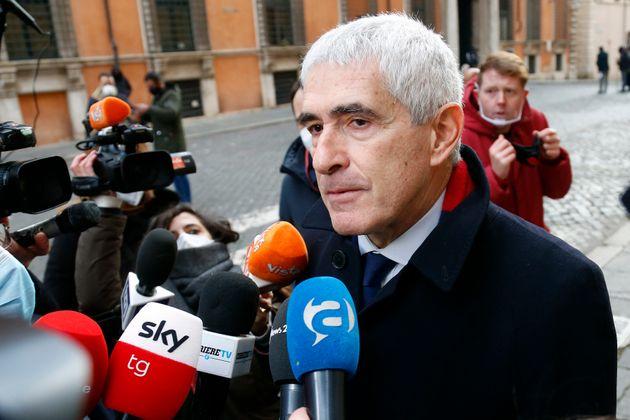 Center group Senator Pier Ferdinando Casini outside the Senate, where a trust vote is going on, due to...