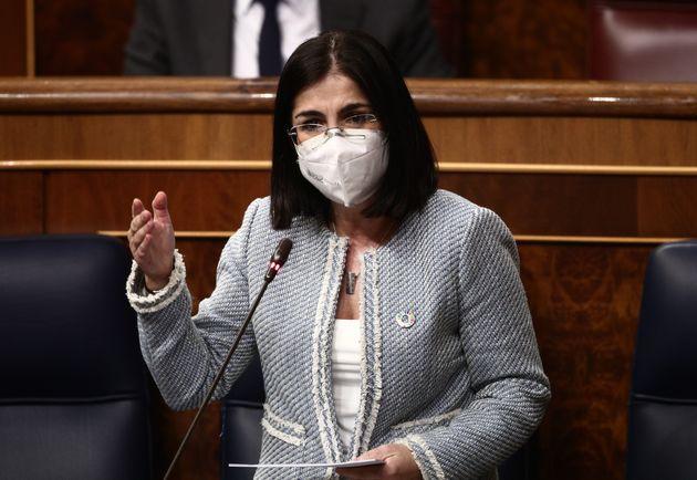 La ministra de Sanidad, Carolina Darias, este miércoles en el Congreso de los
