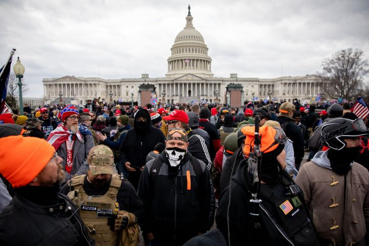 The Proud Boys outside the U.S. Capitol in Washington, D.C. on Jan. 6, 2021.