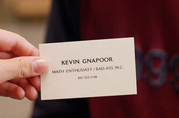 Kevin Gnapoor's business card as seen in Mean