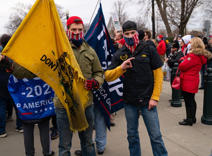 Members of the Proud Boys during a rally supporting former president Donald Trump in Washington, D.C., on Jan. 5, 2021, a day before the insurrection on the Capitol.