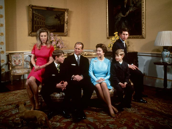 From left to right: Princess Anne, Prince Andrew, Prince Philip, Queen Elizabeth, Prince Edward and Prince Charlespictured at Buckingham Palace in 1972.