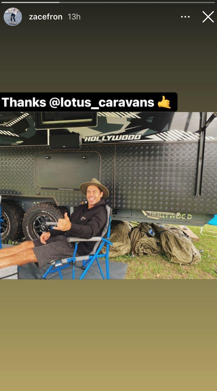 Zac Efron enjoying his caravan while living in Australia.