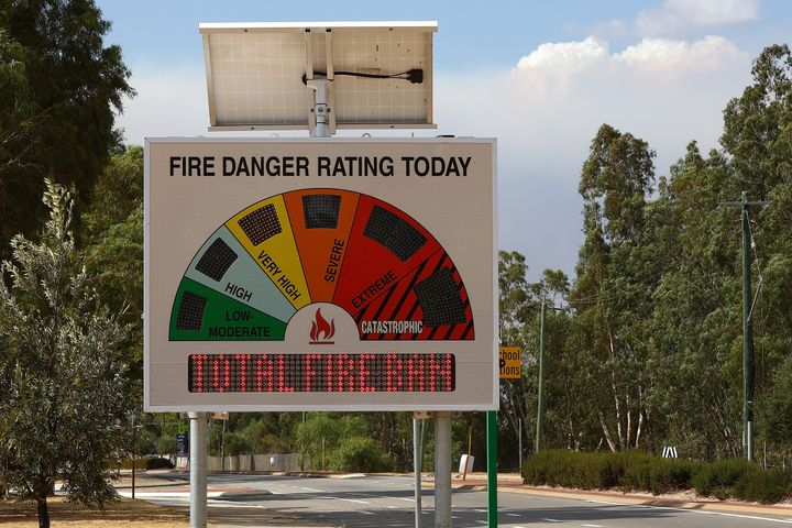 A Fire Danger rating board is seen on Great Northern Highway on February 3 in Perth.