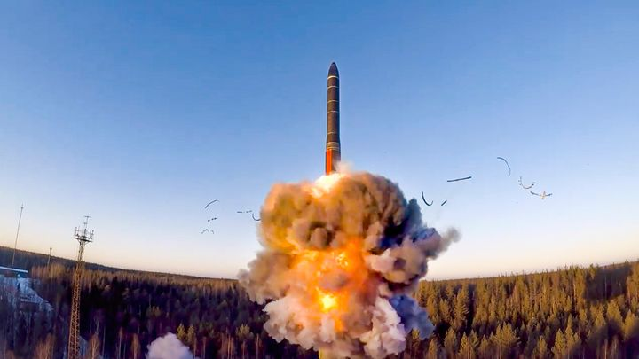 In this file photo taken from a video distributed by Russian Defense Ministry Press Service, on Dec. 9, 2020, a rocket launch