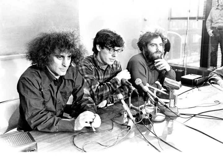 """Abbie Hoffman, left, Rennie Davis, and Jeremy Rubin -- three of the activists who became known as the """"Chicago Seven"""" -- pict"""