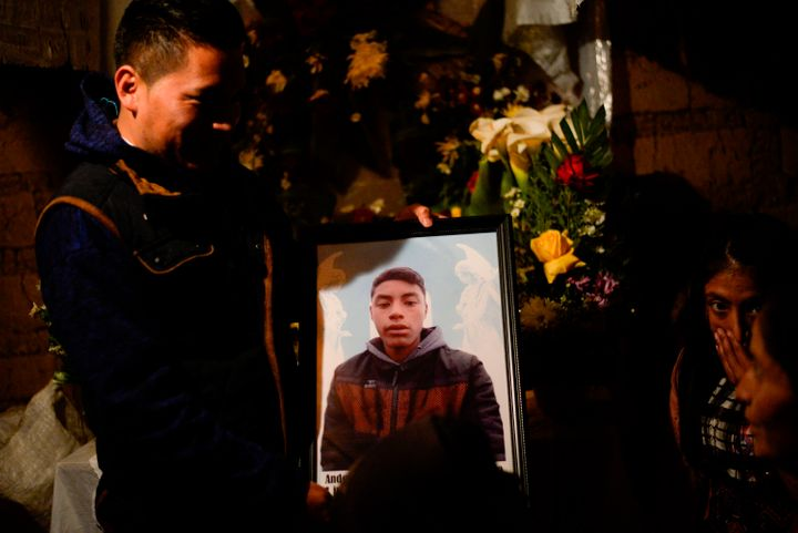 A portrait of Guatemalan migrant Anderson, who is believed to be among the 19 people killed in Mexico, is seen at his home in