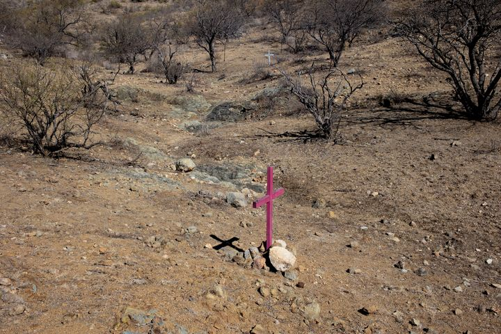 Crosses left by border activists mark the locations where the remains of migrants who died trying to cross into the U.S. thro