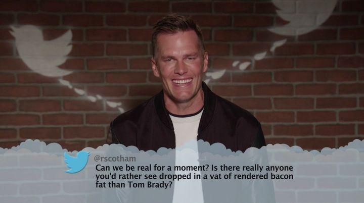 Tom Brady getting grilled.