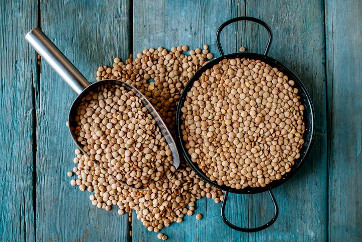 One cup of cooked lentils contains nearly identical calories and protein to 3 ounces of ground beef, but the lentils have no saturated fat or cholesterol.