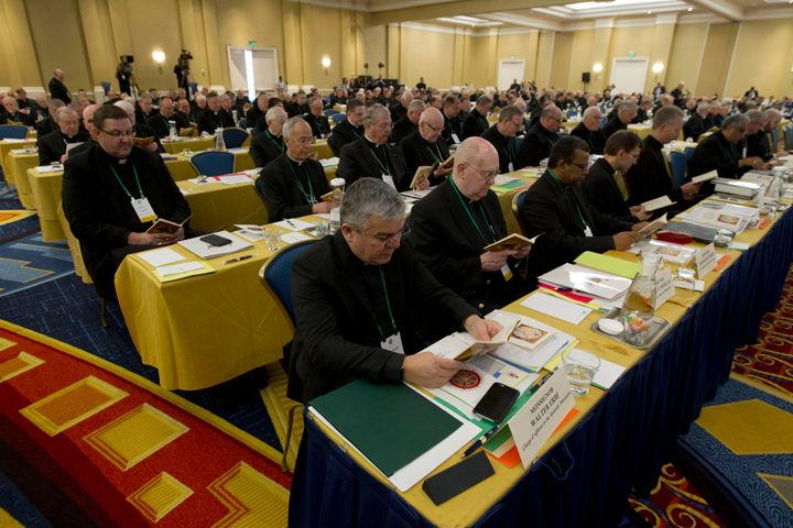 Catholic Bishops participate in a morning prayer during a meeting of the United States Conference of Catholic Bishops (USCCB)