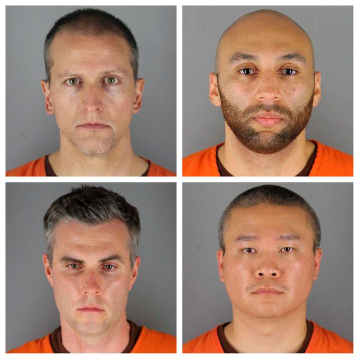 Derek Chauvin, top left, is one of four former officers charged in George Floyd's death last May. Clockwise from Chauvin are