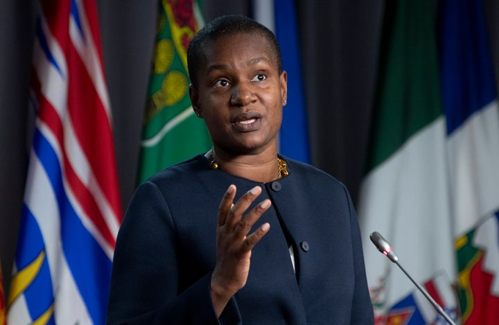Green Party Leader Annamie Paul speaks at a news conference in Ottawa on Nov. 19, 2020.