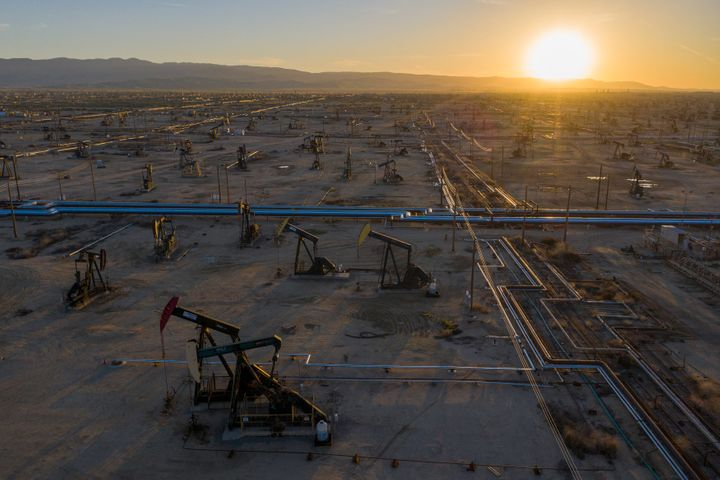 An aerial view shows pumpjacks in the South Belridge Oil Field near McKittrick, California. Oil prices have cratered with the
