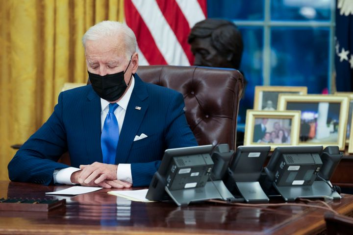 U.S. President Joe Biden makes brief remarks before signing several executive orders directing immigration actions for his ad