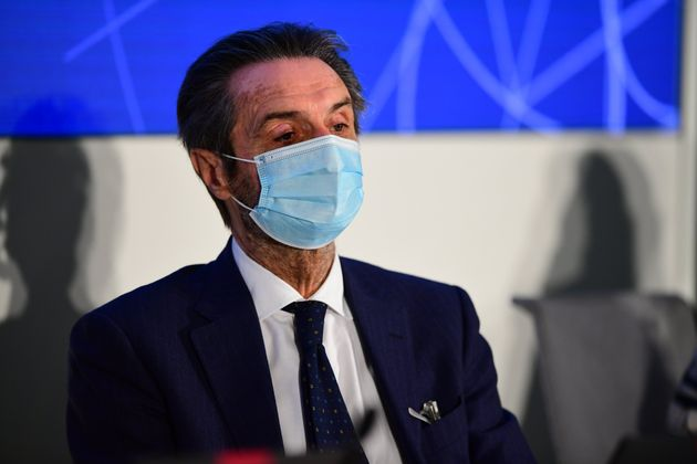 President of Lombardy Attilio Fontana speaks during the presentation of the new special commissioner...
