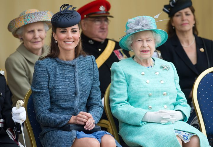 Queen Elizabeth II and the Duchess of Cambridge attend Vernon Park during a Diamond Jubilee visit to Nottingham on June 13, 2