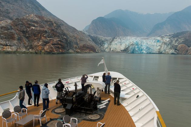Cruise ship Safari Endeavour in shown in front of the Sawyer Glacier in Tracy Arm near Juneau, Alaska,...