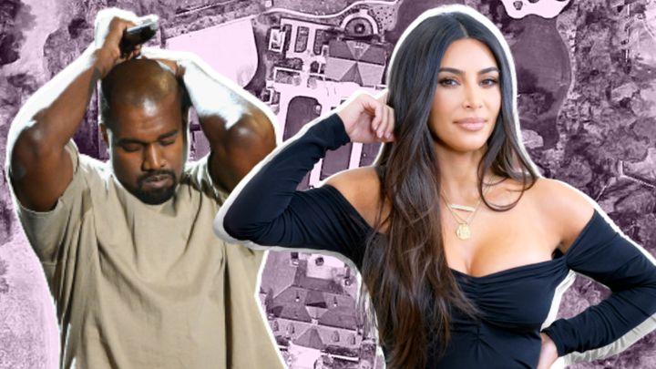 Kim Kardashian y Kanye West con su casa de Calabasas (California, EEUU).