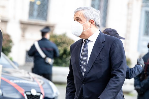 ROME, ITALY - 2021/01/29: Antonio Tajani, former President of the European Parliament, arrives for a...