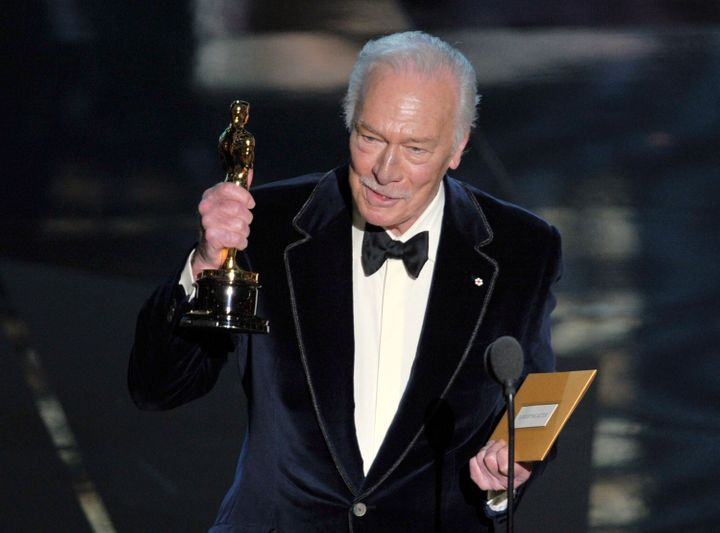 Plummer accepting his Oscar on Feb. 26, 2012.