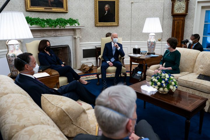 President Joe Biden and Vice President Kamala Harris meet with 10 Republican senators to discuss coronavirus relief. In a new