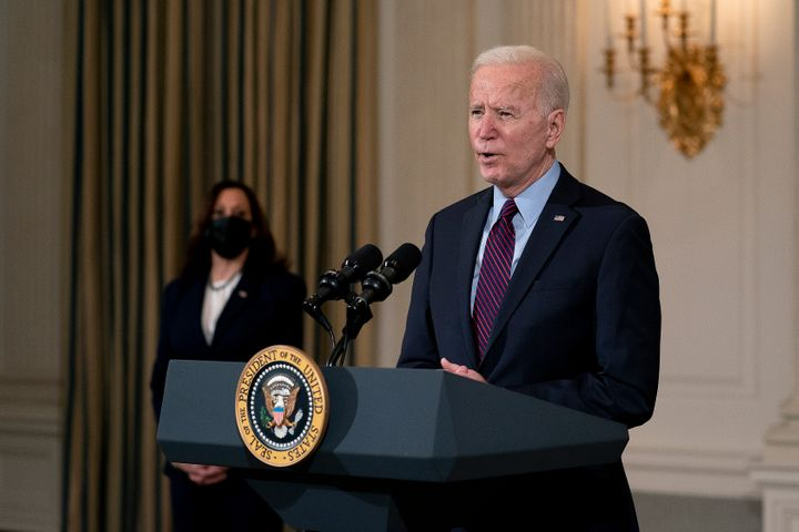 President Joe Biden delivers remarks on the national economy and the need for his administration's proposed $1.9 trillion coronavirus relief legislation on Friday.