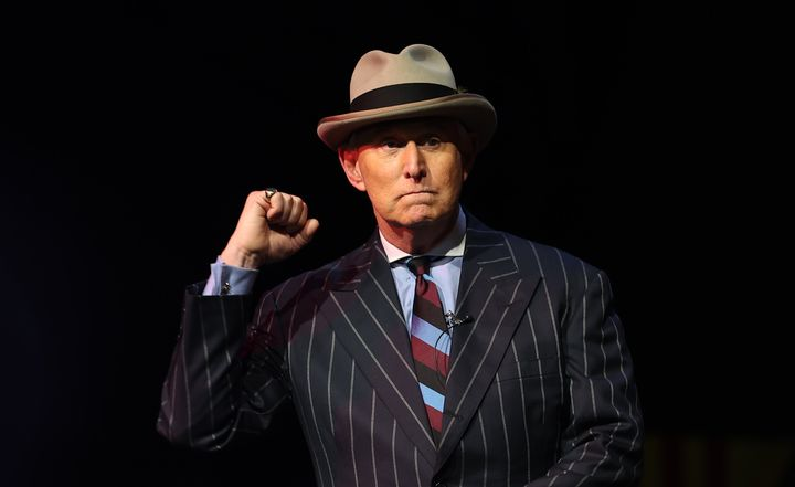 Longtime Donald Trump consultant and adviser Roger Stone gives a speech in Washington, D.C., the night before the storming of
