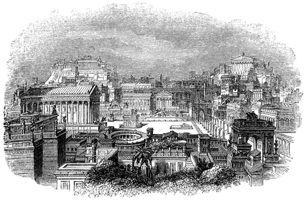 Roman Forum as it looked in the 1st century in Rome, Italy from the Works of William Shakespeare. Vintage...