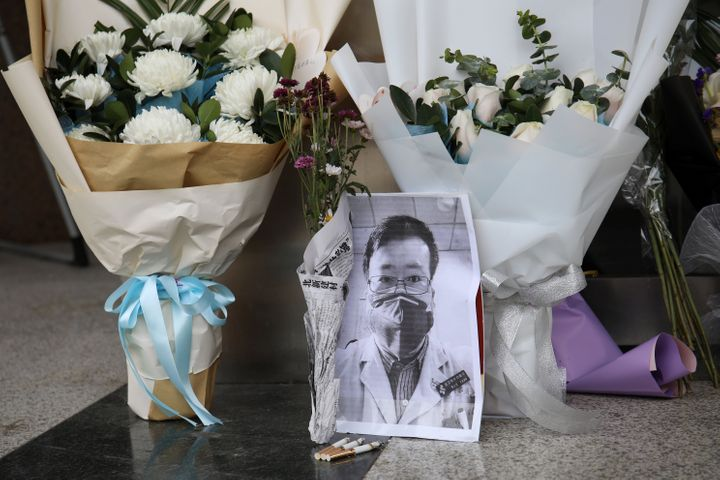 A makeshift memorial for Li Wenliang at an entrance to the Central Hospital of Wuhan in Hubei province, China, on Feb. 7, 202