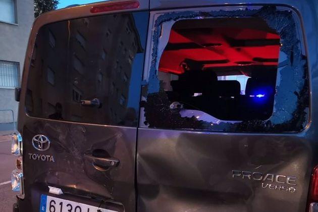 Estado en el que ha quedado la furgoneta de Ignacio Garriga