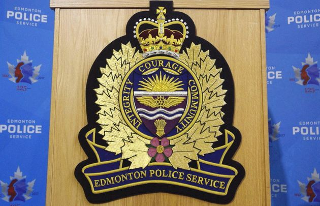An Edmonton Police Service logo is shown at a press conference in Edmonton on Oct. 2,