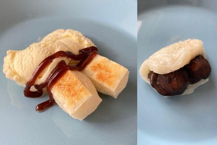 바닐라 아이스크림과 떡(왼쪽) / 떡 사이에 넣은 초콜릿(오른쪽)