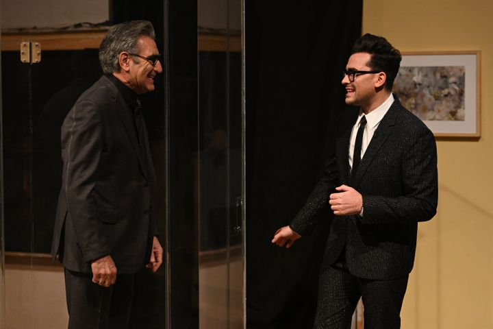 "Actor Eugene Levy and host Dan Levy are seen during the Monologue on ""Saturday Night Live"" on Saturday."