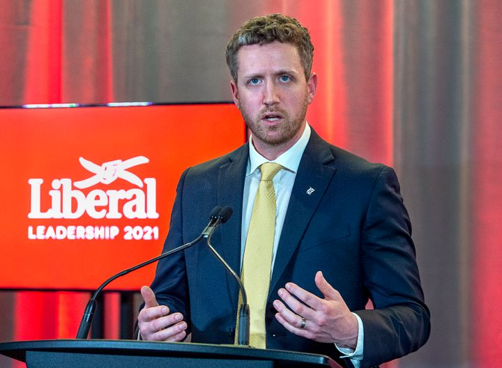 Iain Rankin fields questions as he meets with reporters after winning the leadership of the Nova Scotia Liberal party at a virtual convention in Halifax on Saturday.