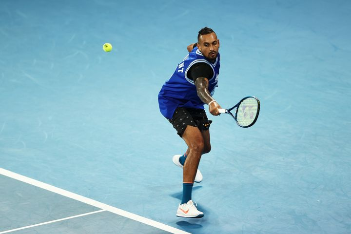 Nick Kyrgios of Australia plays a backhand during a practice session ahead of the 2021 Australian Open at Melbourne Park on February 07, 2021 in Melbourne, Australia.