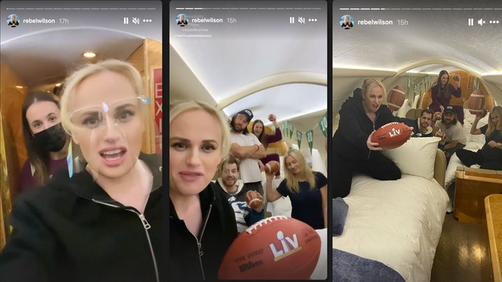 Rebel Wilson enjoys a slumber party in a private jet with her friends ahead of the Super Bowl.