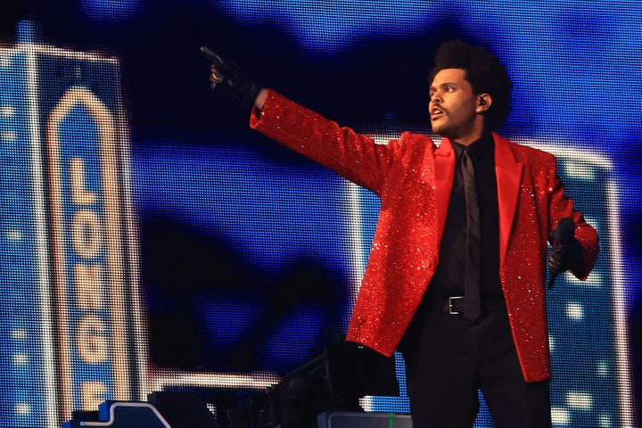 The Weeknd performing at the Super Bowl LV Halftime Show at Raymond James Stadium in Tampa, Fla., on Sunday.