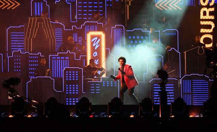 The Weeknd performed against a re-creation of the Las Vegas skyline during the 2021 Super Bowl halftime show.