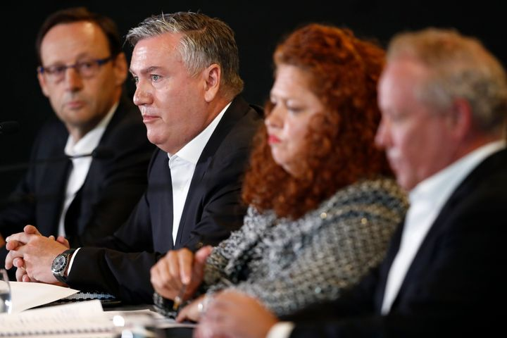 "The press conference, which included Collingwood CEO Mark Anderson, President Eddie McGuire, Collingwood Integrity Committee members Jodie Sizer and Peter Murphy, was labelled as ""delusional"" and a ""dumpster fire"" by sports commentators."