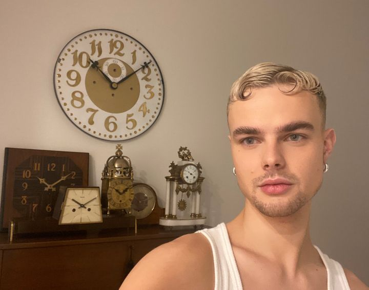Samuel Handley (Gothy Kendoll) at home with some of his finest clocks.