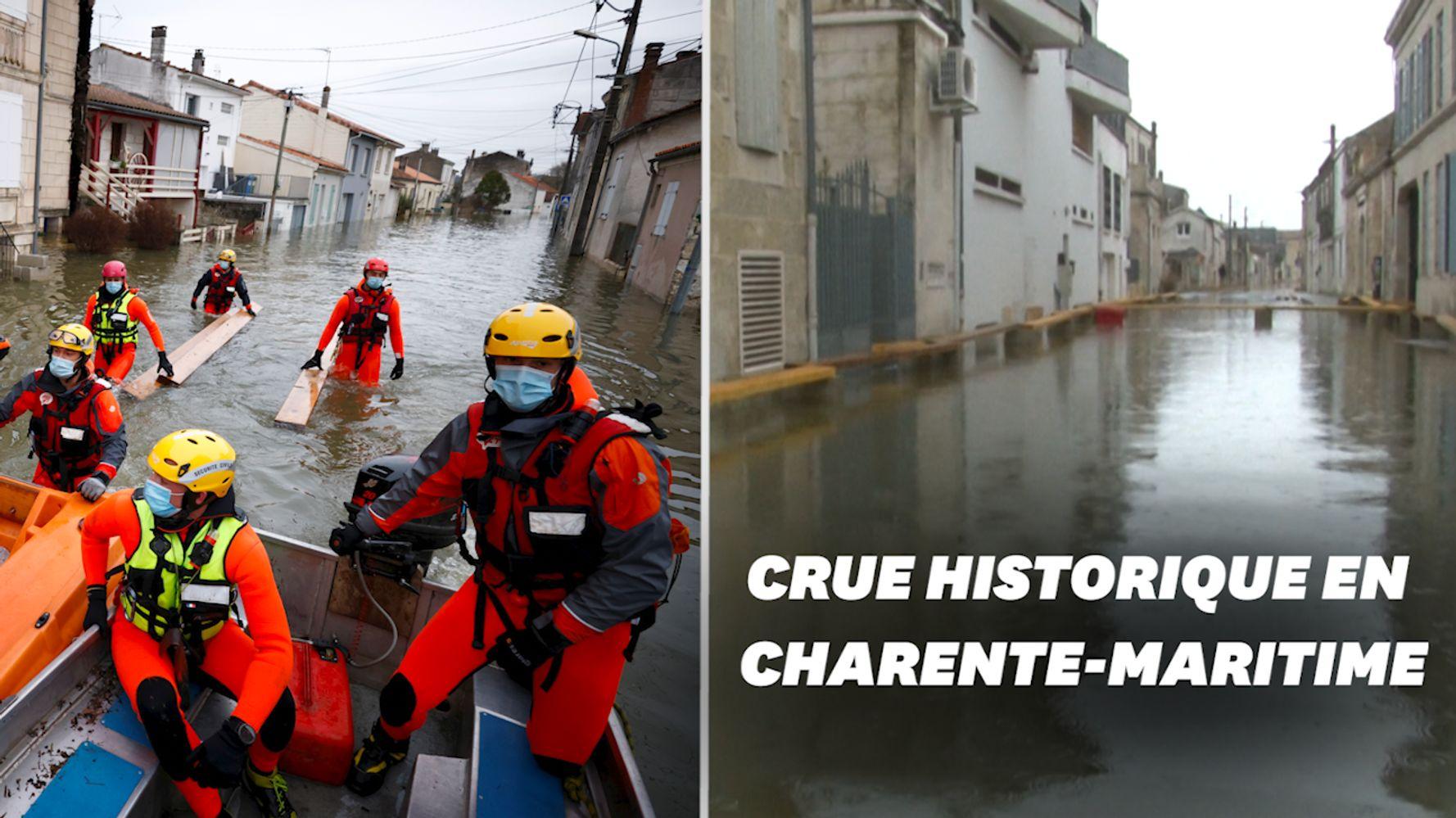 Les rues de Saintes inondées après la crue de la Charente